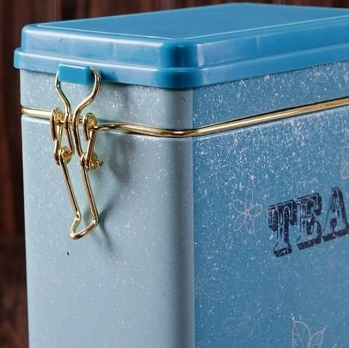 Decorations Jar with Lid Retro Large Sky Blue Tea Kitchen Coffee Tea Sealed Container Jar Tin Metal Decoration Home Decor 21.5cm X 12cm X 7.6cm 5