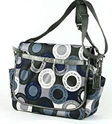 Coach Sateen Snap Head Baby Messenger Bag 18377 Multi Blue Grey