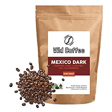Wild Coffee, Whole Bean Organic Coffee, Fair Trade, Single-Origin, 100% Arabica, Austin Fresh Roasted (Mexico Dark Roast, 40...