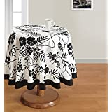 Swayam Libra 6-Seater Cotton Round Table Cover - Black And White