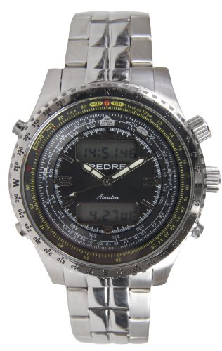 Pedre Men's Aviator All Steel Flight Computer Alarm Chronograph Internal Slide Rule Bracelet Watch, # 0124SX