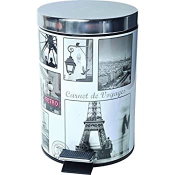 Paris Romance 0.8-Gal Vintage Paris Round Metal Step Trash Can