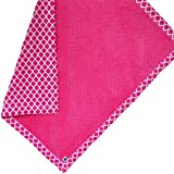 "Cozy Wozy Quatrefoil Print Cotton And Minky Baby Blanket With Mitered Corners, Raspberry Pink, 32"" X 37"""