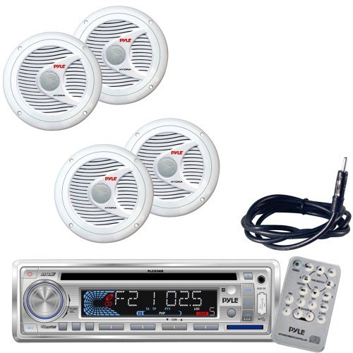 Pyle Marine Radio Receiver, Speaker and Cable Package - PLCD3MR AM/FM-MPX IN -Dash Marine CD/MP3 Player/USB & SD Card Function - 2x PLMR60W 2 Pairs of 150 Watt 6.5'' 2 Way White Marine Water Proof Speakers (Pair) - PLMRNT1 22