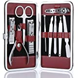 Goege 10pcs Stainless Steel Nail Clipper Care Personal Manicure & Pedicure Set Travel & Grooming Kit (Black &...