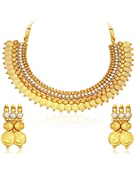 Sukkhi Astonish Gold Plated Temple Jewellery Coin Necklace Set For Women