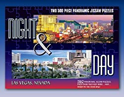 Set of 2 Night & Day Las Vegas, Nevada 500-Piece Panoramic Jigsaw Puzzles