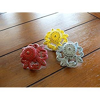 Ornate Cast Iron Knobs/ Choose from 40+ Colors/ Cottage Chic Dresser Pulls/ Drawer Pulls/ Furniture Knobs/ Cabinet Door Pulls
