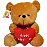 Sunshine Happy Birthday Singing Teddy Bear Soft Toy With Heart - 18 Inches