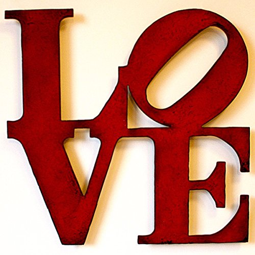 "0110 - 24"" wide LOVE sign metal wall art - Handmade - Choose your patina color"