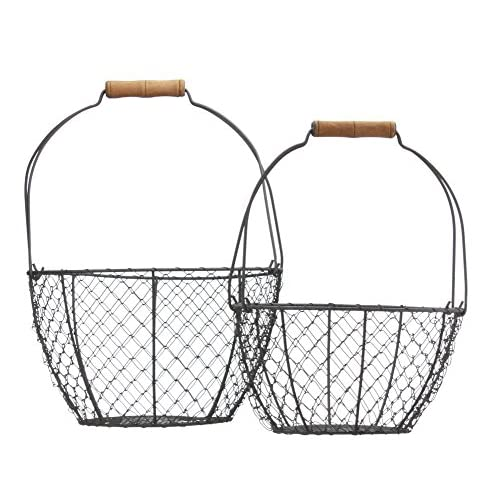 Set of Two Vintage Style Round Wire Baskets