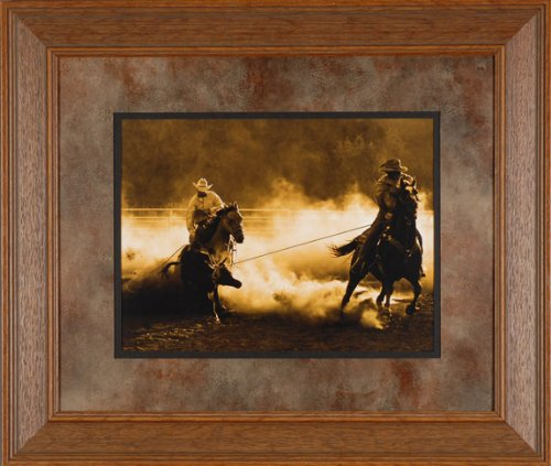 Roping on the Ranch Robert Dawson 28x24 Gallery Quality Framed Print Western Cowboy Horse Picture