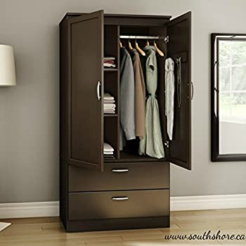 Contemporary Wardrobe Armoire Wood - With Framed Doors and Streamlined Drawers - Features Three Storage Spaces, Two Adjustable Shelves - Nickel Finish Metal Handles (Chocolate)
