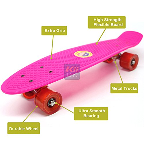 "Plastic Skateboard Penny Retro 22"" Mini Street Cruiser - High Strength Skate Sun Board Deck Vintage Surf with Fish Scale Grip Pattern, 60mm Smooth Polyurethane Wheels, Ultra Durable Metal Trucks and Bearings by KiiSports®"
