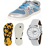 Bersache Women COMBO Pack Of 3 Sports Shoes With Slipper & Watch