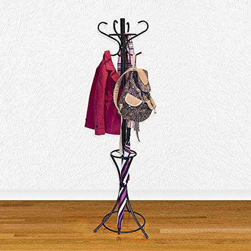 GrayBunny GB-6808 Metal Coat Rack, Hat Stand, Umbrella Holder, Hall Tree, Black, For Home or Office 4