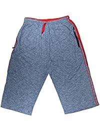 Itai Sports Solid Pattern Combed Cotton Material Grey Color Capri , Shorts For Men
