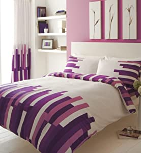 Purple Double Bed Set With Matching Curtains 66 X 72