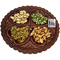 "National Handicrafts 10"" X 10"", 4 Part Leaf / Dry Fruit Tray Home Decor Kitchen Dinning Table Serving Fruits Gift..."