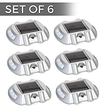 Solar Powered LED Marker Lights- Set of 6- Decorative Aluminum Lamps- Wireless Outdoor Security Light- Garden Decor Accent Lighting- Best for Driveway, Dock, Stairway, Path, Deck, Step, Pool, Patio