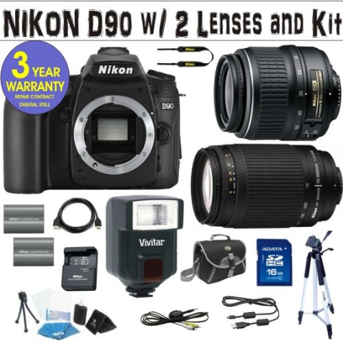 BRAND NEW NIKON D90 DIGITAL SLR CAMERA BODY + NIKON 18-55 VR LENS + NIKON 70-300 G ZOOM LENS + 16 GIG HIGH SPEED MEMORY CARD + 2 RECHARGEABLE BATTERIES + VIVITAR FULLY AUTOMATIC DEDICATED FLASH + 3 YEAR CELLTIME WARRANTY