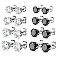 Charisma Stainless Steel Cubic Zirconia Pave Crystal Round Square Stud Earrings Gift for Girls…