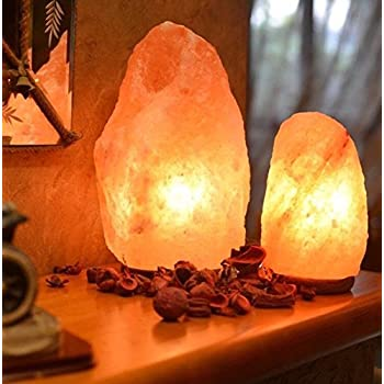 Handmade Natural Himalayan Salt Lamp 6 - 7 lbs, 7 - 8 Inches, Shinny Wooden Base, 1 Bulb, 6 Feet Long UL approved Cord, Dimer Switch