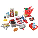 Supermarket Cash Register And Shopping Cart With Grocery Food Toy Playset For Kids