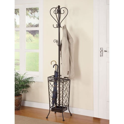 Coaster Home Furnishings 900811 Metal Coat Rack with Umbrella Stand, Antique Brown 0