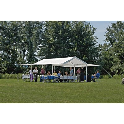 """ShelterLogic 10x20 1-3/8"""" 8-Leg Canopy with Enclosure and Extension Kits (White)"""