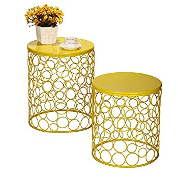 Home Garden Accents Circle Wired Round Iron Metal Nesting Stool Side End Table Plant Stand, Bubble Pattern, For Indoor Outdoor, Lemon Yellow, SET OF TWO