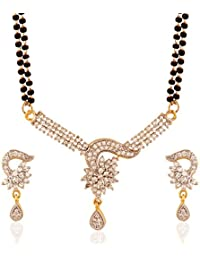 I Jewels Traditional Gold & Rhodium Plated American Diamond Mangalsutra Set With Earrings For Women D031