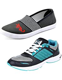 Aircum COMBO Pack Of 2 Pair Of Shoes Grey & Green (Sport Shoes With Loafers Shoes)