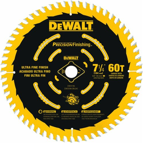 DEWALT DW3196 7-1/4-Inch 60T Precision Finishing Saw Blade