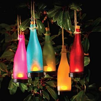 lot de 4 lampes lampes solaires led couleur changeante forme bouteille bouteille. Black Bedroom Furniture Sets. Home Design Ideas