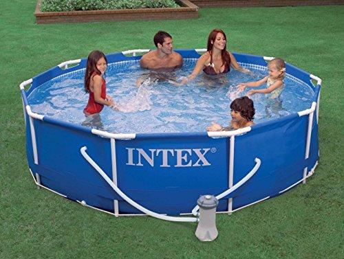 "Intex 10 x 30"" Metal Frame Set Swimming Pool with 330 GPH Pump & 6 Pack Filters"
