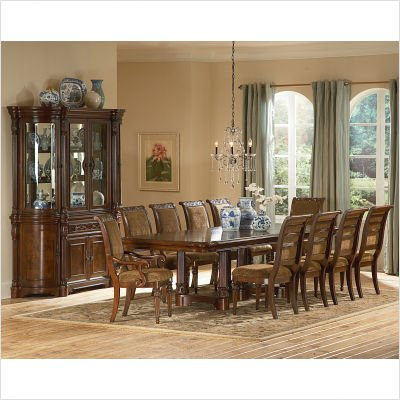 Sonoma 11 Piece Double Pedestal Dining Table Set in Multi-Step Rich Cherry