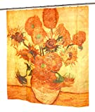 Sunflowers Fabric Shower Curtain by Vincent Van Gogh