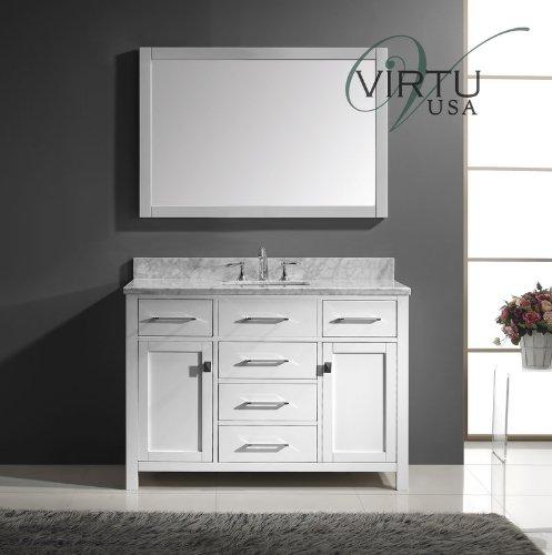 Luxury Virtu USA MS WMSQ WH Caroline Single Sink Bathroom Vanity
