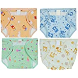Square Brand Premium Quality Baby Joy Pack Of 8 , Outside Printed Cotton Inside Plastic ,Muticolor For Baby Boys , Multisize, Washable Reusable Padded Cushioned Diaper/Langot Nappies For Baby Very Comfortable.