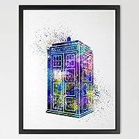 Dignovel Studios 11X14 Tardis Multi Colored Dr Who Watercolor Art Print Wall Art Hanging Home Decor Nursery Kids...