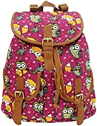 Shopaholic Owl And Fox Printed Pink School Bag For Teenager