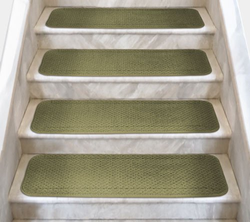 12 Attachable Carpet Stair Treads - Olive Green - 8 In. X 27 In. - Several Other Sizes to Choose From