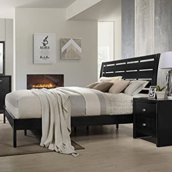 Roundhill Furniture Gloria Black Finish Wood Bed Room Set, Queen Bed, Dresser, Mirror, Night Stand