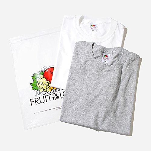 フルーツオブザルーム (FRUIT OF THE LOOM) Tシャツ 2枚セット パックTシャツ メンズ (S, ホワイト×H/グレー)