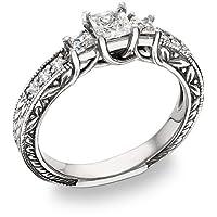 3/4 Carat Three Stone Princess Cut Floret Diamond Ring