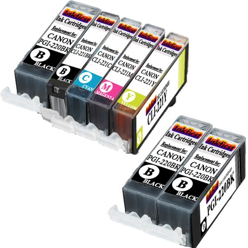 7 Ink Cartridges PGI-220BK, CLI-221BK, CLI-221C, CLI-221M, CLI-221Y Compatible Remanufactured for Canon