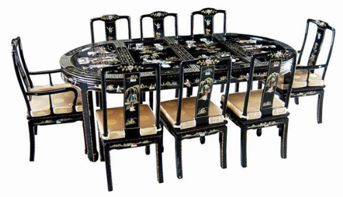 Elegant 9 Pcs Dining Room Set ORIENTAL FURNITURE