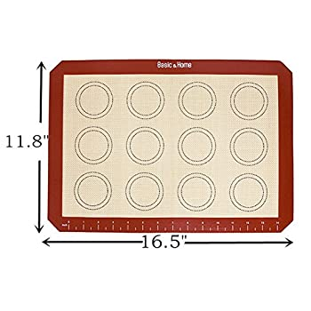 Basic & Home Non-Stick Silicone Baking Mats with Measurements for Cookie sheets, 2 Pack