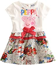 Little Girls Peppa Pig Cartoon Butterfly Stitching Pleated Cotton Dress